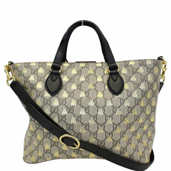Gucci Handbags - GUCCI GG Supreme Bees Monogram Tote Bag Black/Gold